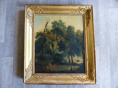 SUPERB EARLY 19th CENTURY FRENCH BARBIZON PAINTING w. PAINTERS in FOREST c1830's