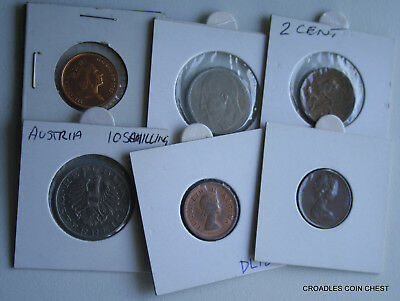6 X Mixed World Coin's General Mix Modern World In 2X2 Holders #vry40