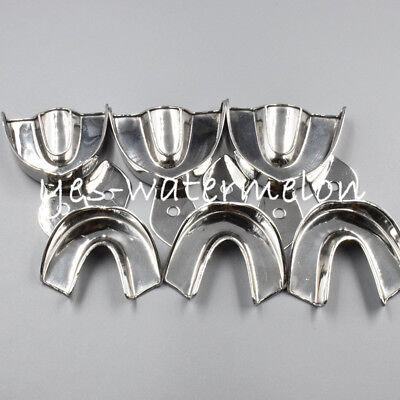 Dental Autoclavable Stainless Steel Metal Impression Trays Edentulous S/M/L