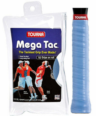 Tourna Mega Tac XL 10 Pack Tennis Overgrip Blue - Free P&P