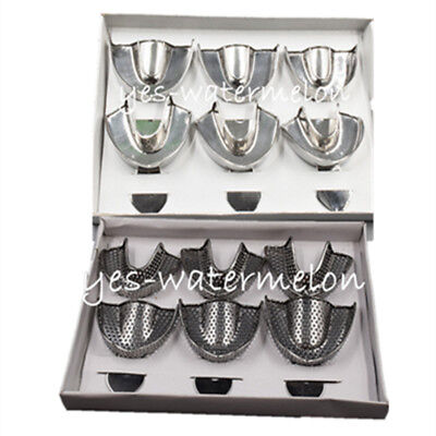6 Pcs Dental Autoclavable Metal Impression Trays Stainless Steel Upper Lower