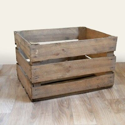 6 x FRENCH STYLE APPLE CRATES - fruit boxes vintage wooden box - FAST DELIVERY