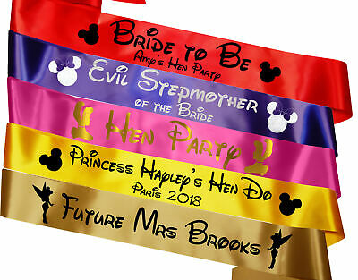 Personalised Disney Hen Party Sashes Princess Decoration Minnie Weekend Do Night