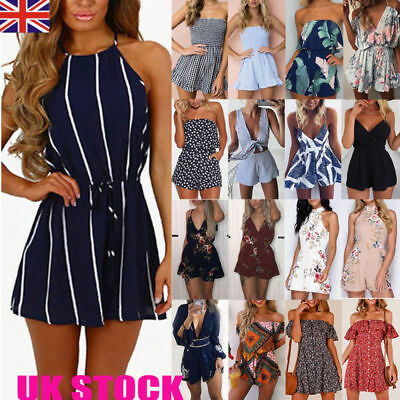 UK Womens Striped Jumpsuit Mini Playsuit Ladies Long Tops Summer Beach Dresses