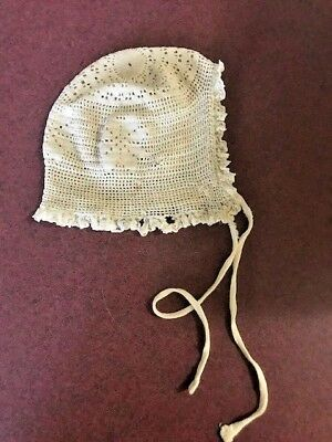 Antique Victorian Baby Bonnet or Doll Hat Crocheted Lace