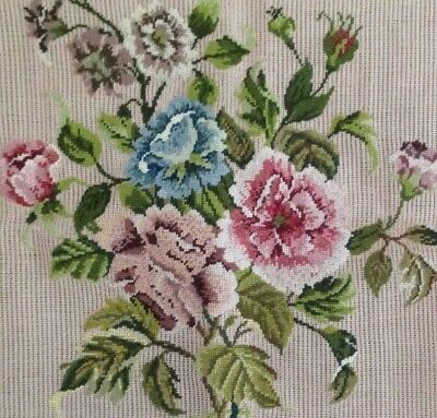 Vintage Floral Hand Embroidered Tapestry Panel 25 ins Square