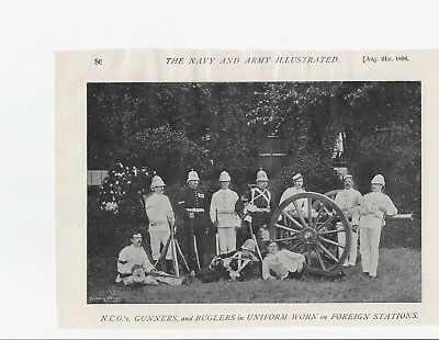 NCO's, GUNNERS & BUGLERS on FOREIGN STATIONS. 1896 Magazine Photo Print