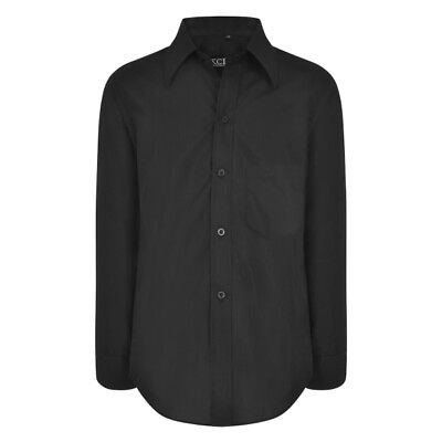 Boys Kids BLACK Plain Shirt Smart Formal Party Wedding Funeral 1-15 Years (203)