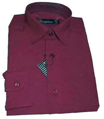Boys BURGUNDY Plain Shirt  Smart Formal Party Wedding Funeral 1-15 Years (1208)