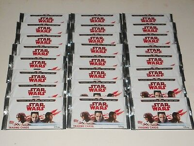 24x Star Wars The Last Jedi Trading Cards New in Packets (Topps)