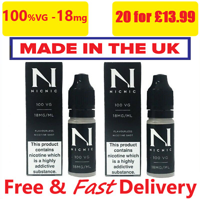 Nicotine Shots 10ml - 18mg/ml by NicNic Nic Shots 100%VG or 70%VG Cloud Chaser
