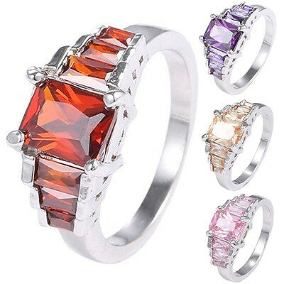 AM_ Women's Ladies Fashion Silver Plated Cubic Zirconia Rings Jewelry