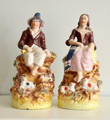 A Good Pair of c19th Antique Staffordshire Figures, Land Workers & Their Animals