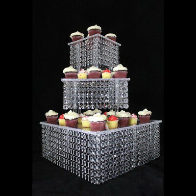 3 Tier Crystal Party Wedding Cake Stand Square Chandelier CakeStand Table Decor~