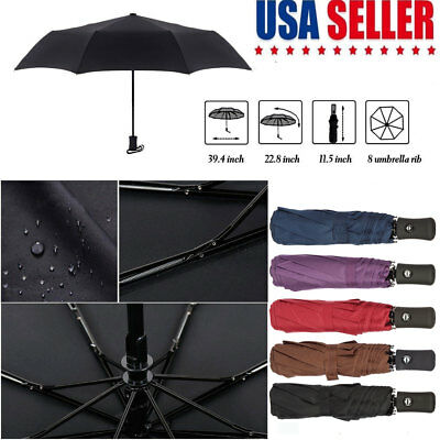 Automatic Travel Umbrella Auto Open Close Compact Folding Rain Windproof Strong