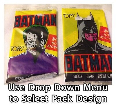 Topps Batman 1989 Trading Cards, Sticker & Bubble Gum Packet Vintage Sealed