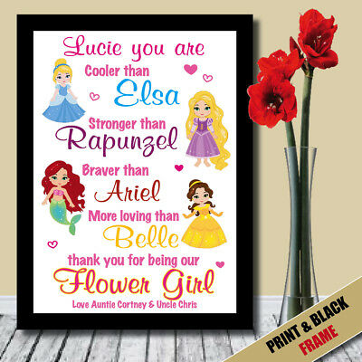 PERSONALISED Princess Bridesmaid Flower Girl Maid of Honour Thank you Gift 022