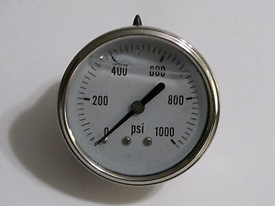 New Hydraulic Liquid Filled Pressure Gauge 0-1000 PSI 1/4 NPT Center Back Mount