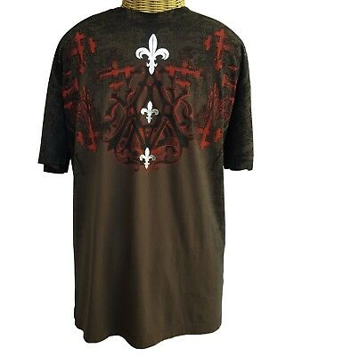 NWT AFFLICTION Archaic Brown Red T-Shirt Mens 2XL XXL Short Sleeve