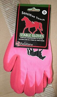 Belstane Sensitive Touch Pink Equestrian Stable/Grooming/Yard Gloves Size Small