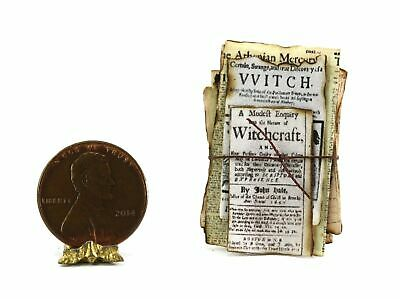 Dollhouse Miniature Artisan Witch's Aged Papers for Halloween