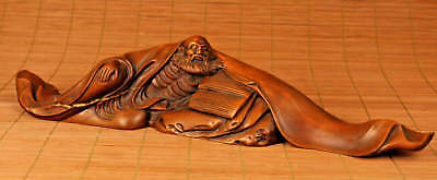 Chinese Old bOXWOOD Collection Handmade Carved Monk Statue