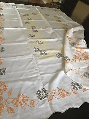"""Vintage white Linen Fall Halloween Hand Embroidered Banquet Tablecloth 72"""" x 54"""""""