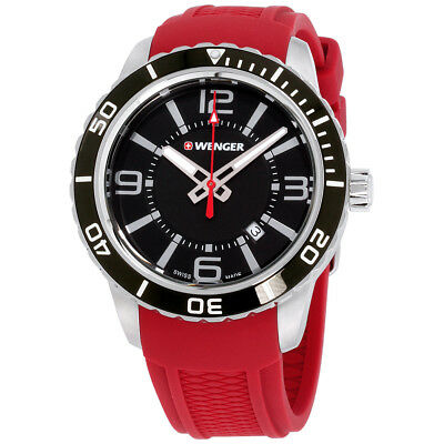 Wenger Roadster Black Dial Silicone Strap Men's Watch 010851116