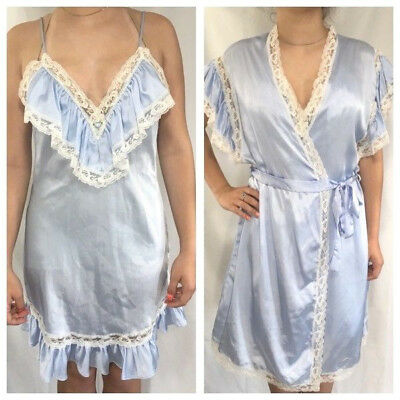 Vtg Lily of France Peignoir Set S Nightgown M Robe Babydoll Negligee Lace Blue