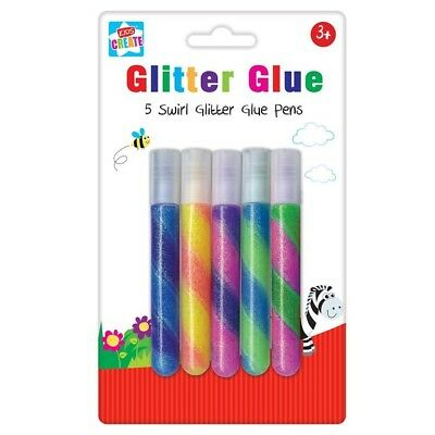 5 Pack Coloured Swirl Glitter Glue Pens Set Art Craft Kids Children Party Gift
