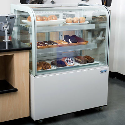 "36"" Curved Glass White Dry Unrefrigerated LED Lighting Bakery Display Case, 115V"