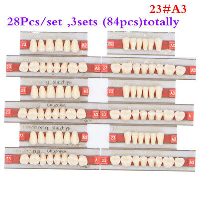 84pcs/ 3sets Dental Complete Denture False Tooth 23# Synthetic Resin Teeth A3 US