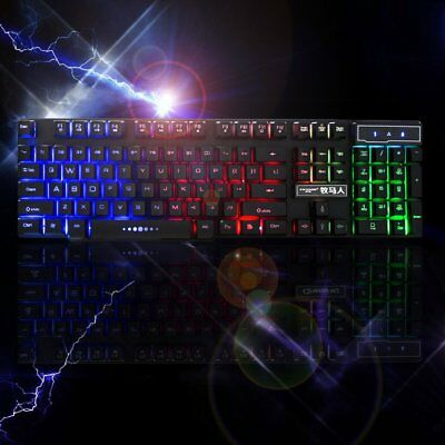 USB Wired Backlight Gaming Keyboard Rainbow Color LED Light Mechanical