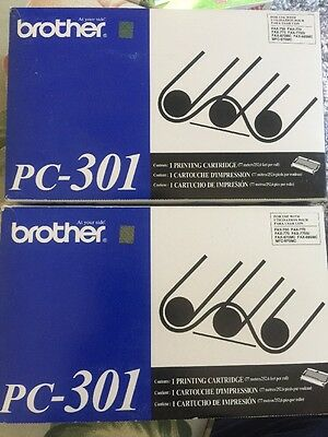 New! 2 Pack ~ Genuine Brother Pc-301 Pc301 Printing Cartridges ~ Box # C3