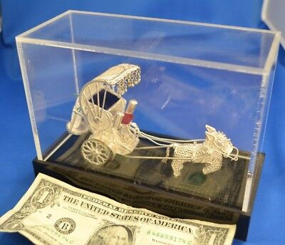 Vintage Silver Cannetille Filigree Tonga Tanga Horse Carriage from India