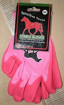 Belstane Sensitive Touch Pink Equestrian Stable/Grooming/Yard Gloves Size Medium