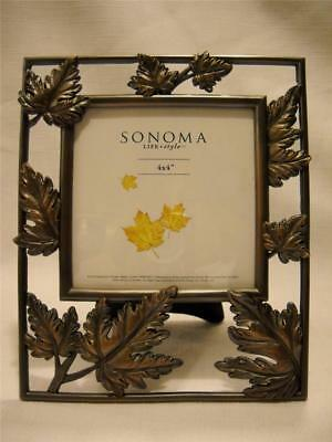 SONOMA Metal Leaves Picture Frame Holds 4X4 Picture MSRP 19.99