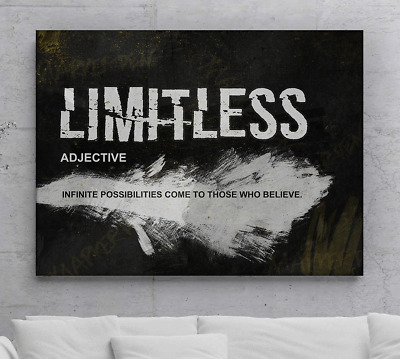 Limitless Motivational Canvas Print Wall Office Decor Art Entrepreneur Quotes