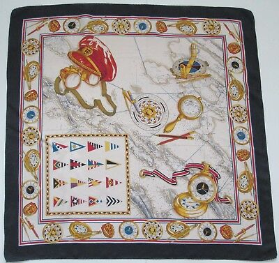 A Stunning Vintage Nautical Pure Silk Scarf Rolled Hem (8096X)