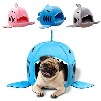 Shark Pet Dog Nest Bed Puppy Soft Warm Cave Bed House Kennel Cat Mat Cushion