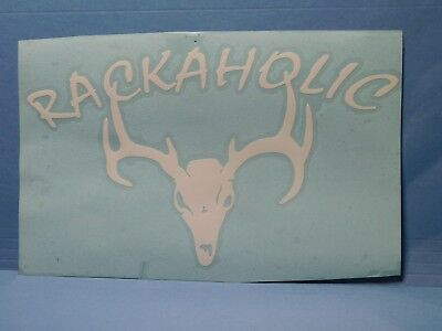 "Deer Skull ""Rackaholic"" White Vinyl Window Car Tattoo Decal Sticker 8"""