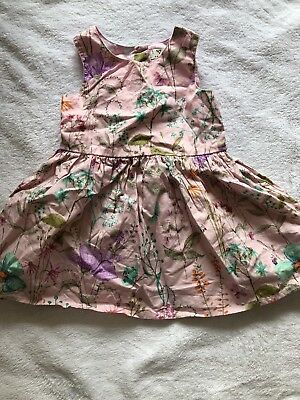 Pre-owned Baby Girls Next Pink Flower Summer Holiday Dress Size 6-9 Months
