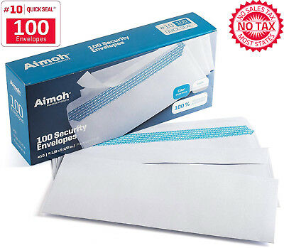 10 Security SELF SEAL Envelopes - No Window, 4-1/8 X 9-1/2 Inches,100 Per Box