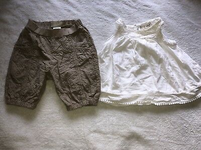 Pre-owned Baby Girls Next Summer Outfit Top And Bottoms Size 6-9 Months