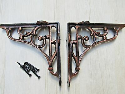 "5"" PAIR ANTIQUE COPPER VICTORIAN SCROLL cast iron ornate shelf support brackets"