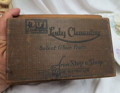 vintage wooden advertising box / Chicago Glace Fruits / dovetail corners / clean