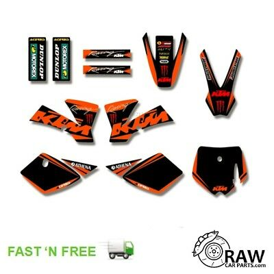 Black Factory Racing Style Plastic Decal Sticker Kit Graphics For KTM SX 50 50cc