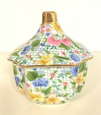 Two's Company Jar with gold trim and lid~~Perfect Condition