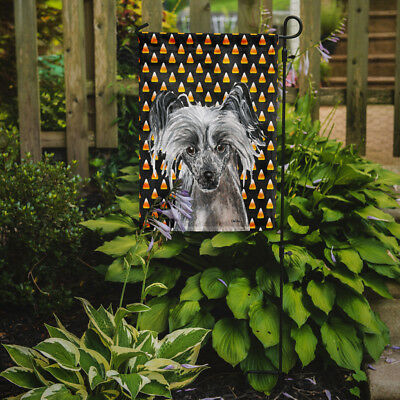 Carolines Treasures  SC9536GF Chinese Crested Halloween Candy Corn Flag Garden S