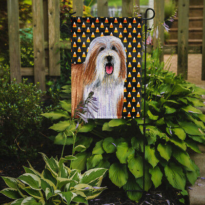 Bearded Collie Candy Corn Halloween Portrait Flag Garden Size